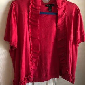 Pinkish-red shrug with ruffle